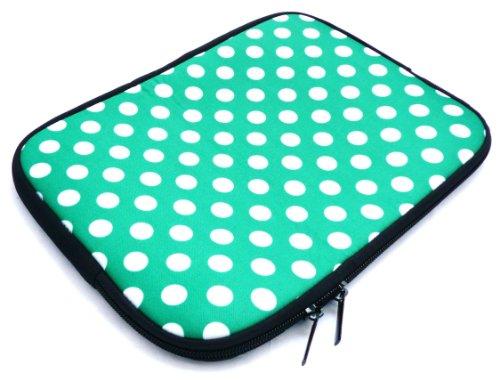 Emartbuy® AlpenTab 7 Zoll Tablet PC Polka Dots Grün/Weiß Wasserdicht Neopren weicher Reißverschluss-Kasten-Abdeckungs-Hülsen (7 Zoll eReader/Tablet / Netbook)