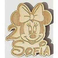 5 PEZZI Calamita personalizzata in legno Minnie per bomboniera primo compleanno o battesimo