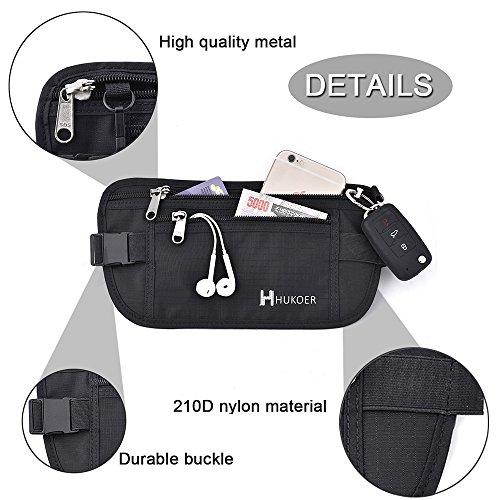 HUKOER Marsupio Sportivo Portasoldi Cintura Borsa 2 tasche viaggio Protettive RFID ideale per viaggio/ Escursione/ Campeggio/ Trekking Nero-grigio