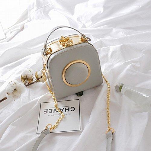 Paket Kette Kleine Quadratische Tasche Kameratasche Schulter Messenger Bag hellgrau