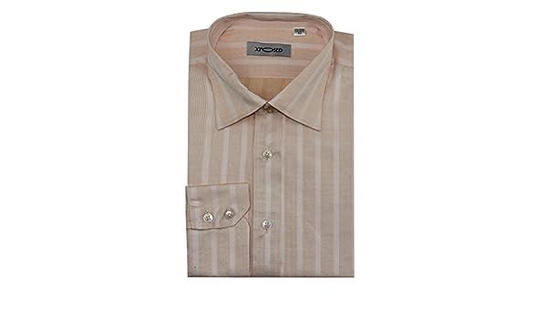 XPOSED New Mens Smart Formal Office Work Long Sleeve Light Orange Stripes Shirt