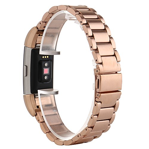 """Fitbit Charge 2 Band, PEMOTech [Luxury, Durability, Classic] Adjustable Stainless Steel Bracelet Strap Replacement Band for Fitbit Charge 2 Watch Fitness Tracker, Wrist Length 5.5""""-8.1"""" (140mm-205mm) Test"""