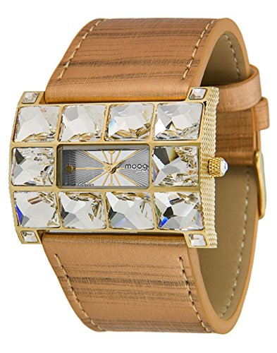 Moog Paris Crystal Women's Watch with Silver Dial, Brown Genuine Leather Strap & Swarovski Elements - M45322-003