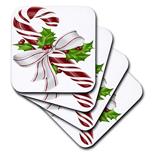 3dRose cst_264886_2,5 cm Pretty Red and White Floral Christmas Candy Cane Illustration, Set von 10 cm weichen Untersetzern (Floral Cane)
