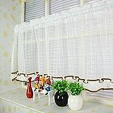 JIAJU Schiere die Vorhänge in der Küche Cafe Cortinas Fenster Tür Tulle für Küche Kurzvorhang Kaffee Verschiedene Größe Home Decor, Width 140x high 200 1 Pieces