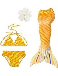 Bambine e ragazze Bikini D C.Supernice Ragazza Sirena Coda Nuoto Bambino 3 Pezzi Tankini Costume da Bagno Shell Top Bikini con Corolla