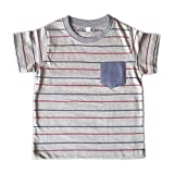 Orange and Orchid Cotton Red Striped Pocket Kids T-shirt