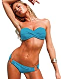 Bestgift Damen Bikini-Set Zierschnalle Slip Top Push-Up Bademode