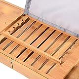 Unuber Bambus Badewannenablage ausziehbar mit Weinglas-Halterung und iPad-Buch-Ablage, 70-104 x 6,4 x 23,6 cm (B x H x T) - 2