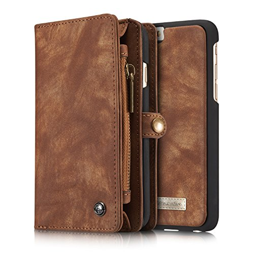 Case und Geldbörse für Apple iPhone 6/6s 4.7 Zoll - 2in1 Geldbeutel Portmonee Schutzhülle Tasche Etui Wallet Hülle Braun