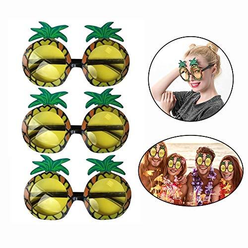 Hawaiianer Kostüm - TXIN 3 Paare Ananas Sonnenbrillen, Kreative Neuheit Pineapple Glasses Für Kostümpartys Karneval Kostüme Hawaiianer Sommerparty Dekoration Zubehör Erwachsene Hawaii Brille