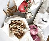 Mehrwegbeutel Obst, Baumwollnetze, Gemüsebeutel, obstbeutel baumwolle, netztaschen für gemü, Wiederverwendbare Obst- und Gemüsebeutel, Taschen aus Bio-Baumwolle, Satz von 6(2 groß, 2 mittel, 2 klein)