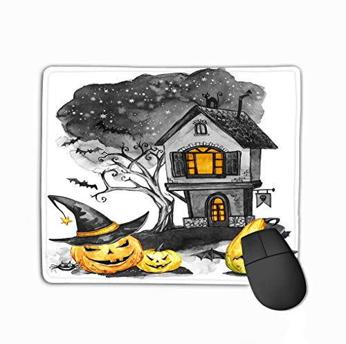 Mouse pad Watercolor Landscape Old House Cemetery Holidays Pumpkins Halloween Holiday Illustration Magic Symbol Horror Scary Night steelseries Keyboard