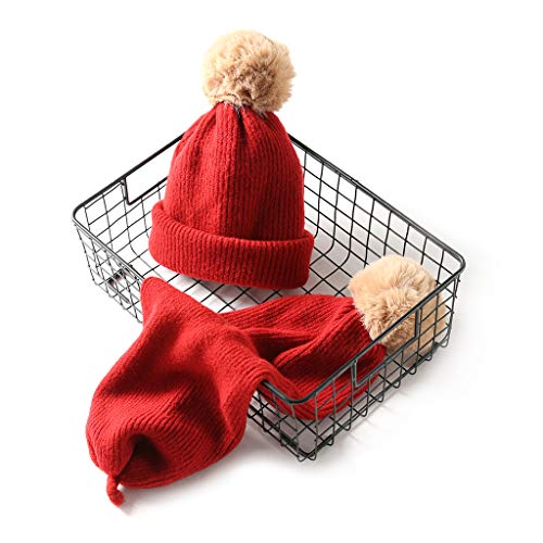 GROOMY 2 in 1 for Women Winter Knit Stretchy Hat with Cute Fluffy Pompon Ball Double Purpose Neck Scarf Neck Solid Color Thicken Warmer Ear Cap Hat - Red