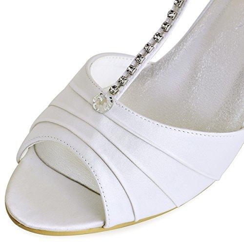 ElegantPark EL-035 Escarpins Femme Satin Bout Ouvert Bride Cheville Diamant Salome Mitalon Chaussures de mariee Bal Blanc