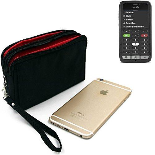 K-S-Trade Für Doro 8031C Gürteltasche schwarz Travel Bag, Travel-Case mit Diebstahlschutz praktische Schutz-Hülle Schutz Tasche Outdoor-case für Doro 8031C