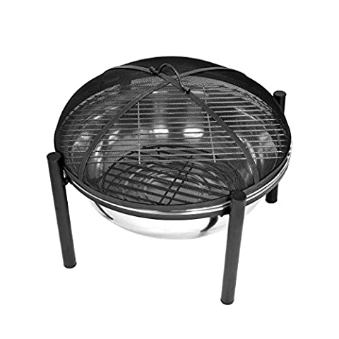Harima Cacus - 63cm 25 Inch Camping Stainless Steel Metal Fire Pit Brazier Bowl with Chrome BBQ Grill, Mesh Lid and Rain Cover Incinerator Log Wood Burner Garden Patio Heater