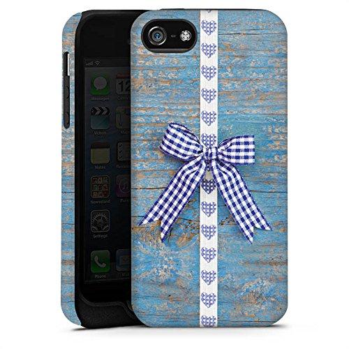 Apple iPhone X Silikon Hülle Case Schutzhülle Holz Look Schleife Herz Oktoberfest Tough Case matt