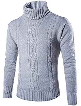 Casual Manga Larga Jersey para Hombre, Honghu Ocio Cuello Alto de Punto Sweater Gris claro L