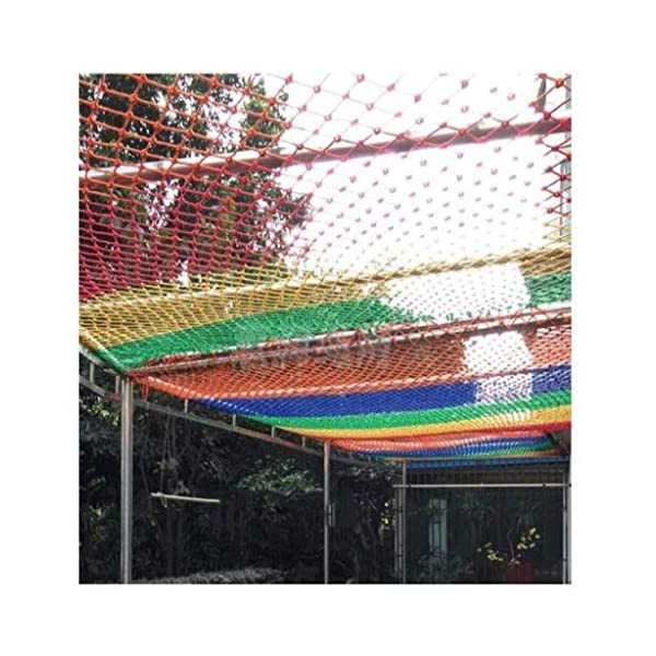Garden decoration net, color rope net child anti-fall safety net kindergarten fence net balcony stair safety net hammock swing woven net (Size : 10 * 10M(33 * 33ft))  ◆ Safety net wire diameter 6MM, mesh spacing 10CM.Color: Color rope net.Our protective mesh can be customized according to your needs. ◆Protective net material: Made of nylon braided rope, hand-woven, tightened.Exquisite workmanship, solid and stable, can withstand 300kg weight impact. ◆Features of decorative net: soft material, light mesh, multi-layer warp and weft, fine wiring, fine workmanship; clear lines, non-slip durable, anti-wear. 5