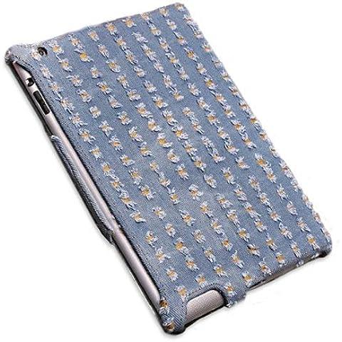 Denim Tela de microfibra estampado en caliente Styling caso de la piel para el iPad 2 3.