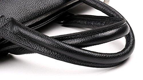Männliche Beutelhandtasche Kurierbeutel-Schulterbeutel-horizontale Leder-Geschäftspaket-Aktenkoffer Beiläufige Art Und Weiseatmosphäre Black2
