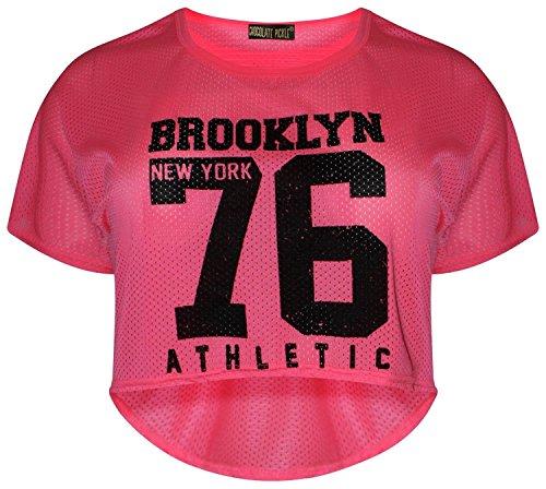 Chocolate Pickle® Neue Frauen Neonrosa Varsity Baseball hoch niedrig Sportarten Crop Oberteile 36-42 Brookyln 76 Neon Pink