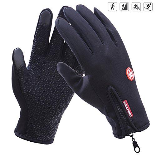 Winter Outdoor Sports Touchscreen Handschuhe Warm Gefüttert Rutschfest Winddicht Perfekt für Joggen Radfahren Motorrad Winterhandschuhe Damen Herren (Palm Breite: < 9cm), Schwarz S