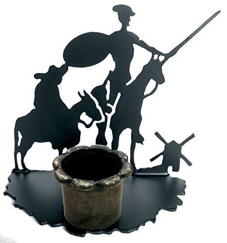 IMEX THE FOX The 11525 Fox-Don Quixote and Sancho Candle Holder, 159 x 181 mm, Forged Iron, Black, 8x18.100000000000001x15.9 cm