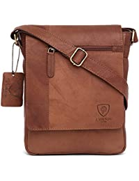 100% Pure Genuine Real Vintage Hunter Leather Handmade Mens Leather  Flapover Everyday Cross-Body 8dea56b839bfe