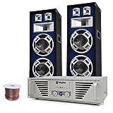 Elektronik-Star DJ-PA Komplett-System Bass Titan (1200 Watt Skytec PA-Amp, 2X 800 Watt Auna Stand-Boxen)