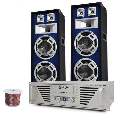 DJ-PA Komplett-System Bass TiTan (1200 Watt Skytec PA-Amp, 2x 800 Watt Auna Stand-Boxen)