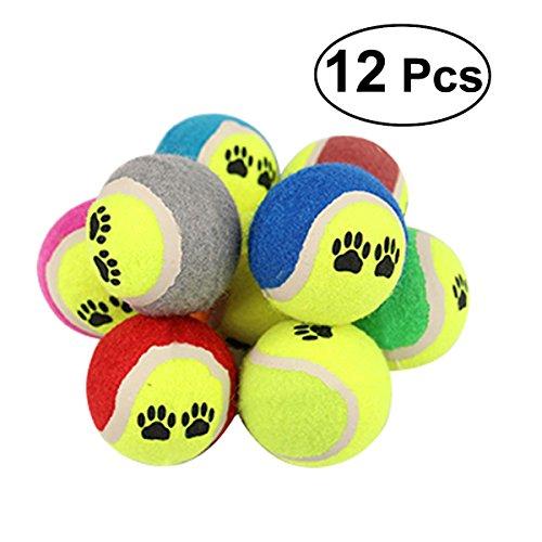 Ueetek Mini-Tennisball für Hunde, 12 Stück, 6,5 cm, Kauspielzeug für Hunde (zufällige Farbauswahl)