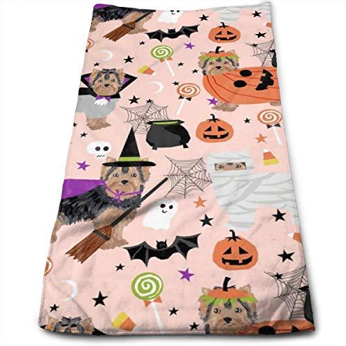 Wodann Yorkshire Terrier Yorkie Halloween Kostüme niedlichen Hund Herbst Herbst rosa Handtücher Geschirrtuch Floral Leinen Handtuch 11,8