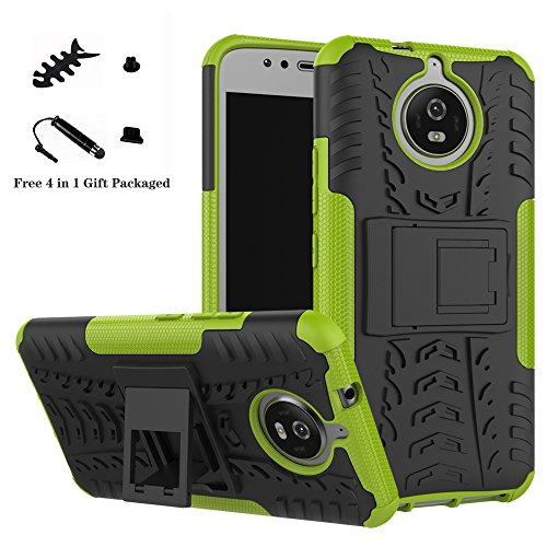 LiuShan Moto G5s Hülle, Dual Layer Hybrid Handyhülle Drop Resistance Handys Schutz Hülle mit Ständer für Motorola Moto G5s (5,2 Zoll) Smartphone (mit 4in1 Geschenk Verpackt),Grüne