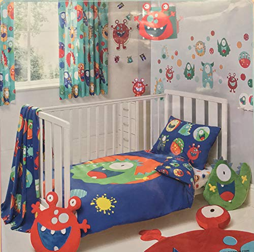 Asda Home Bettwäsche-Set mit Baumwollanteil, Paisley-Streifen-Druck, von Kleinkindern Junior-Kinderbett bis zu Super-Kinderbett-Größe, Little Monsters, Toddler Cot Bed - Kinderbett Monster Bettwäsche Für