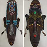 PNX India Multicolour African Hand Carved Decorative Mask For Wall Decor | Room Decor - (18.5 Inch X 8 Inch) (Mask-6)