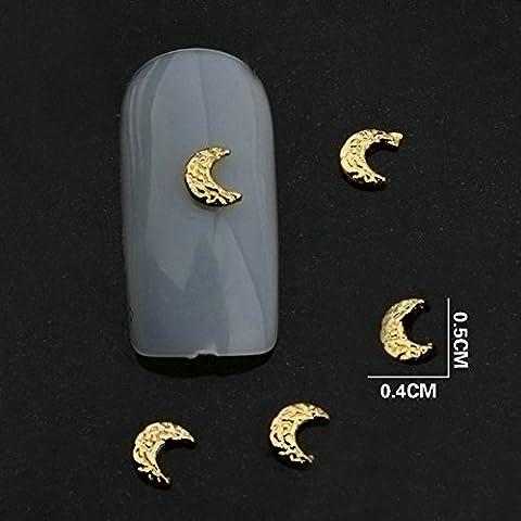 Una confezione da 20 pezzi, colore argento (Silver Moon & in oro con decorazioni in 3D per Nail Art professionale per unghie Nail Art Charms