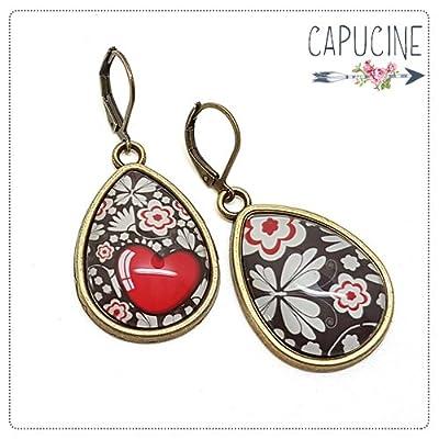 Boucles d'oreilles coeur et fleurs - Boucles d'oreilles cabochon goutte - Le Cœur en Fleurs