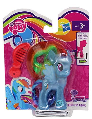 xplore Equestria Figur zum frisieren, mit Kamm & glitzerndem Haarreif, Code am Fuß für die APP, Spielfigur für Mädchen, Kinder (Rainbow Dash, blau) ()