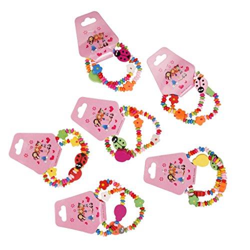 MagiDeal 12x Beatle Mädchen Armbänder Holzarmband - Kinderarmband