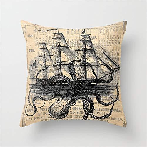 Jack16 Kissenbezug, Motiv: Octopus Kraken angreifendes Schiff, antikes Almanac-Papier, 45,7 x 45,7...