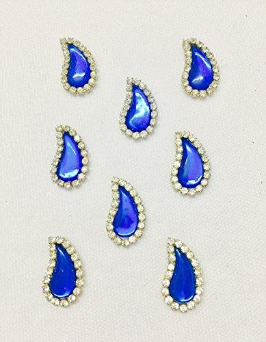 6 Pieces of blue colour Drop, tear,leaf shape appliqués patches botis for...