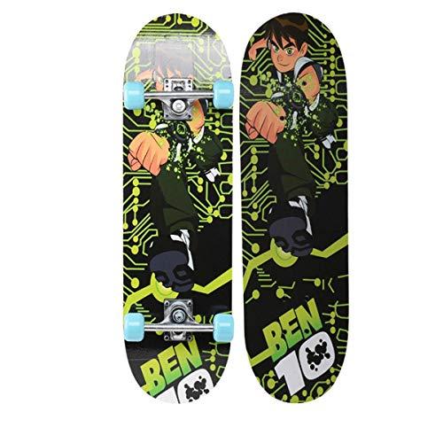 rd Komplett Longboard Double Kick Skateboard Cruiser 8 Lagen Ahorn Deck für Extremsport und Outdoor, 1,72cm ()