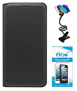 TBZ PU Leather Flip Cover Case for Oppo Joy 3 with Flexible Lazy Stand and Tempered Screen Guard -Black