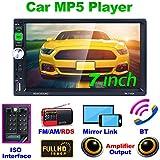 REAKOSOUND Autoradio Bluetooth 2 Din Radio Video MP5 Car Stereo con 7 pollici HD 1080P Touch Screen Controllo del Volante FM/AM/RDS, USB/TF/AUX in/Supporto Reverse Camera