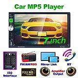 REAKOSOUND 7 pulgadas de pantalla táctil capacitiva Doble Din Car Audio estéreo Video MP5 Reproductor Radio para coche con Bluetooth, control del volante