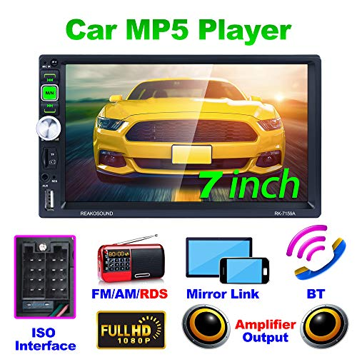 REAKOSOUND 7 pulgadas de pantalla táctil capacitiva Doble Din Car Audio estéreo Video MP5 Reproductor Radio para coche con Bluetooth, control del volante