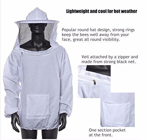 Bee Suit, OUTERDO Protective Beekeeping Veil Smock Beekeeper Suit Coat Jacket Equipment with Hat&Gloves 6