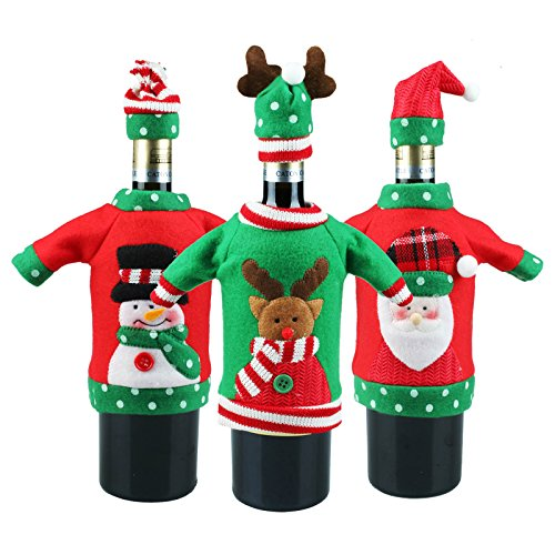 vLoveLife 3 x Weihnachtspullover, Weinflaschenabdeckung, handgefertigt, hässliche Weinflaschen-Pullover, Weihnachtsgeschenke, Weihnachtsgeschenke, Party-Dekorationen